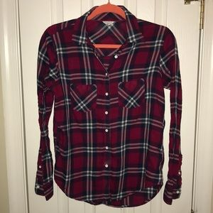 Aeropostale Women's Red Long Sleeve Button Up Top
